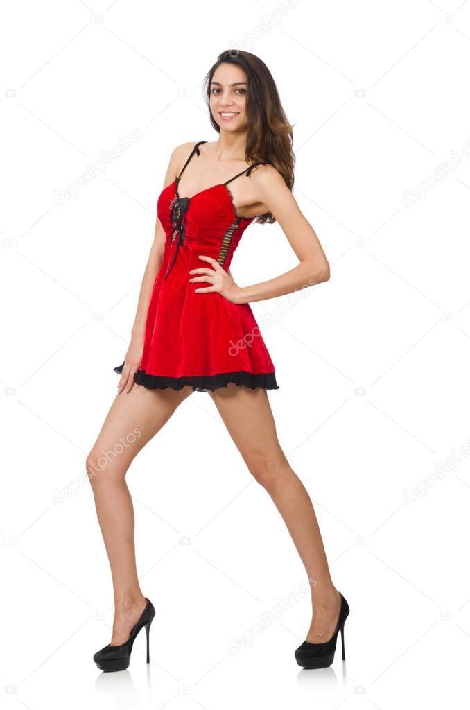 3c4e7781d27c Žena nosí krátké červené mini šaty izolovaných na bílém — Stock fotografie