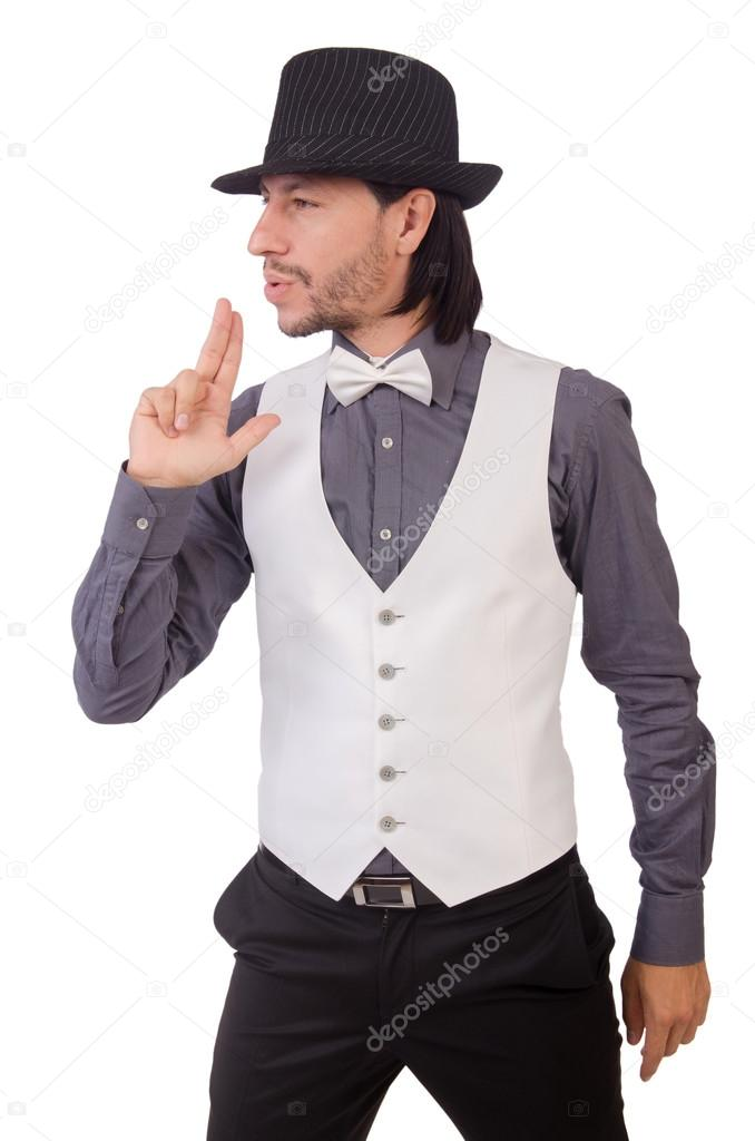 Joven brunet en la camisa gris y sombrero negro aisladas sobre fondo blanco  — Foto de Elnur  7e60eb34953