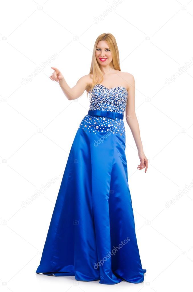 fa19a9fea86a Donna in vestito da sera abbastanza blu isolato su bianco — Foto di ...