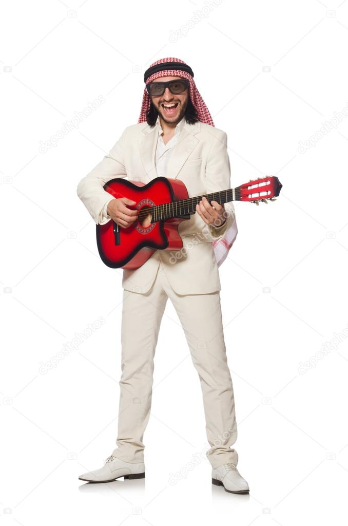 Arab man with guitar on white — Stock Photo © Elnur_ #83732564