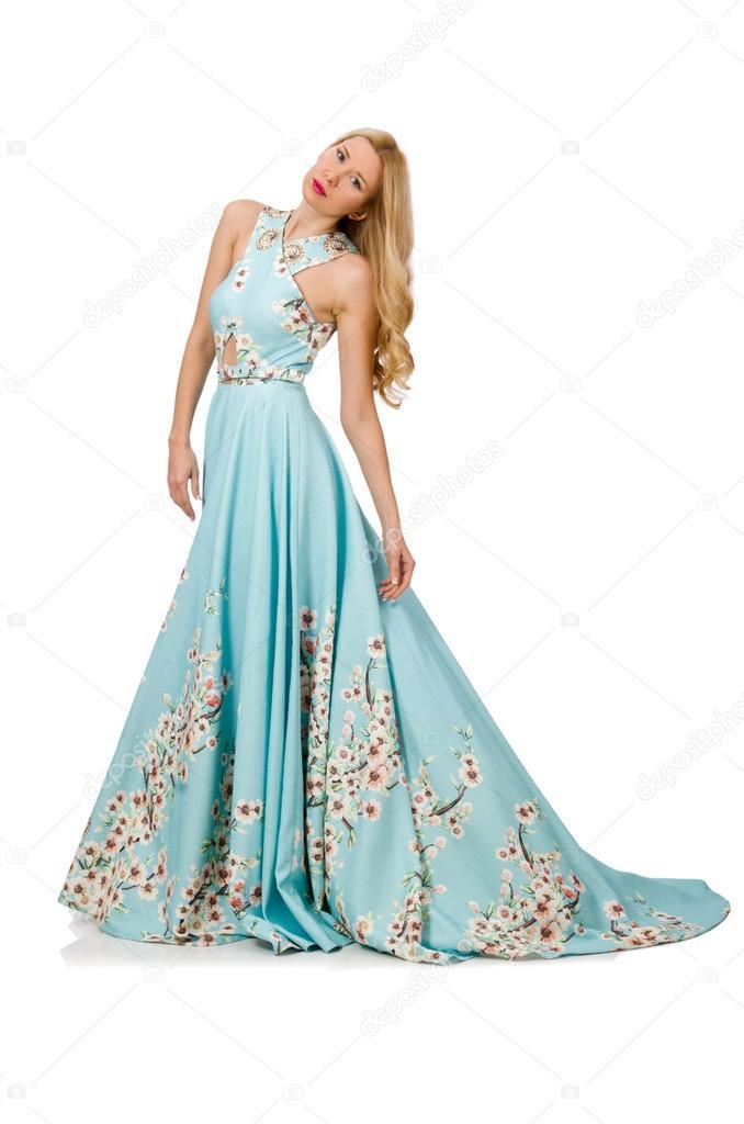 6400a4ba05af Donna in vestito blu lungo con stampe a fiori isolato su bianco– immagine  stock
