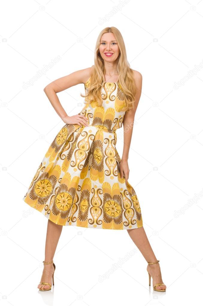 28d56165470e Όμορφο κορίτσι στο κίτρινο floral φόρεμα που απομονώνονται σε λευκό —  Φωτογραφία Αρχείου