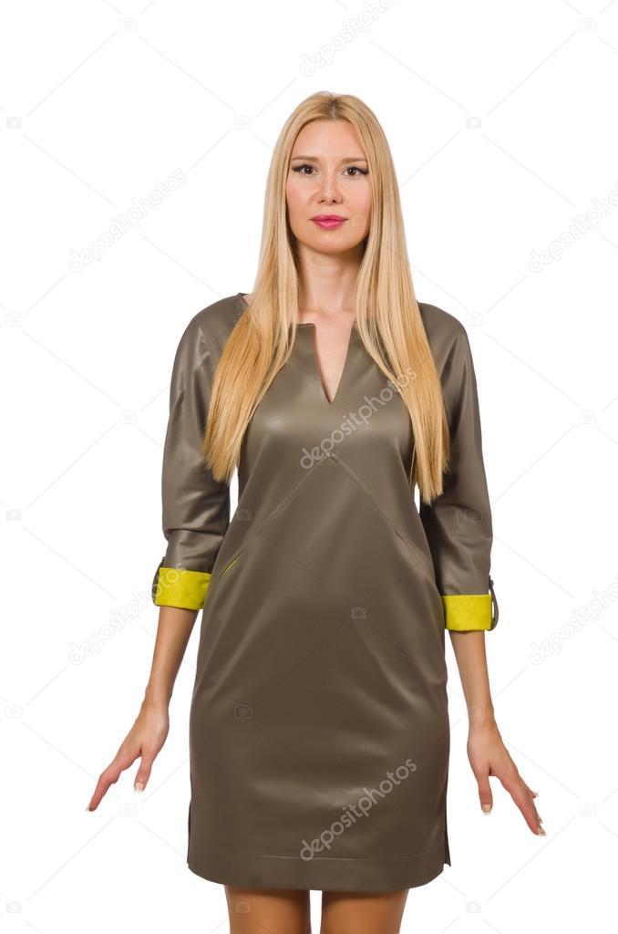 3456f70c204eac Blondie in grijze satijnen jurk geïsoleerd op wit– stockafbeelding