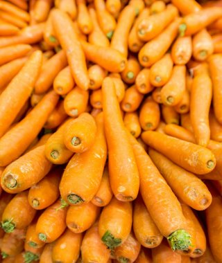 Carrots on the supermarket display