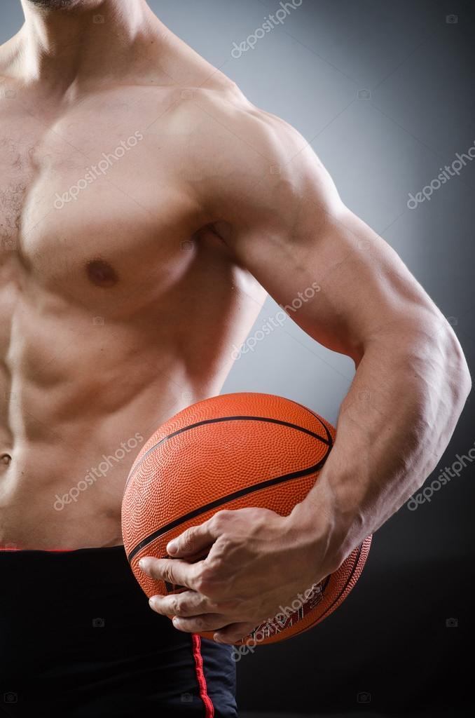 Muscoloso pallacanestro nel concetto di sport foto stock - Immagini stampabili di pallacanestro ...