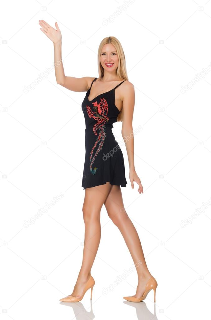 Tall Young Woman In Black Dress Isolated On White Stock Photo