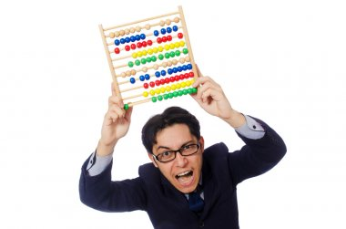 Angry accountant with abacus
