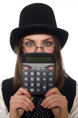 Funny woman with calculator isolated on white