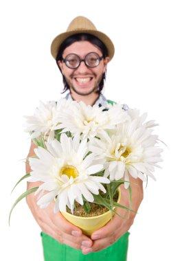 Man gardener with flowers on white stock vector