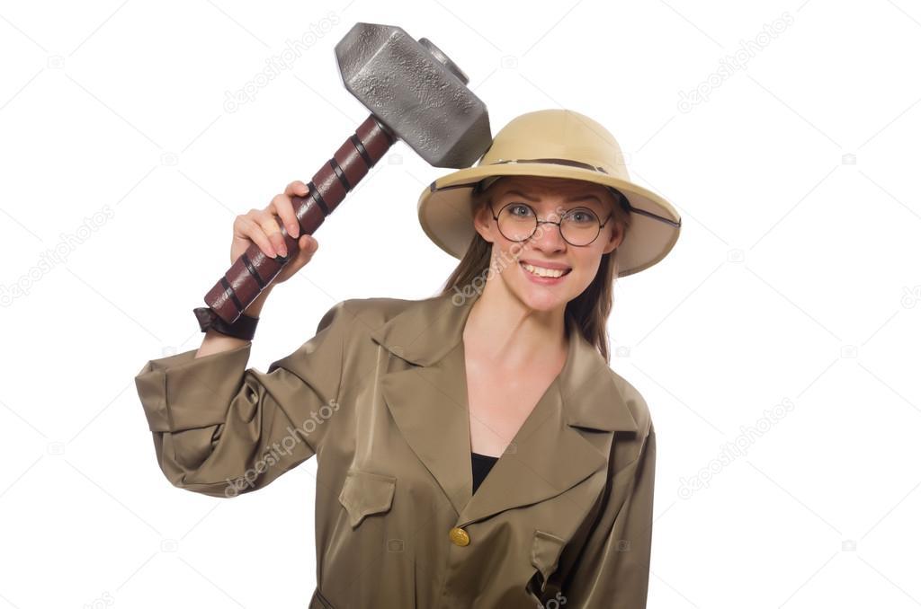 Mujer con sombrero de safari en blanco - sombrero tipo cazador — Foto de  Elnur  — Foto de Elnur  bcdf1919c767