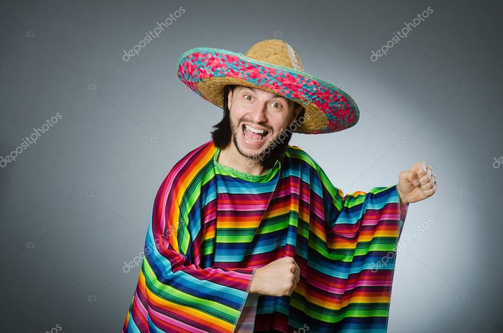 64932dc20b5 Funny mexican wearing sombrero hat — Stock Photo © Elnur   88070944