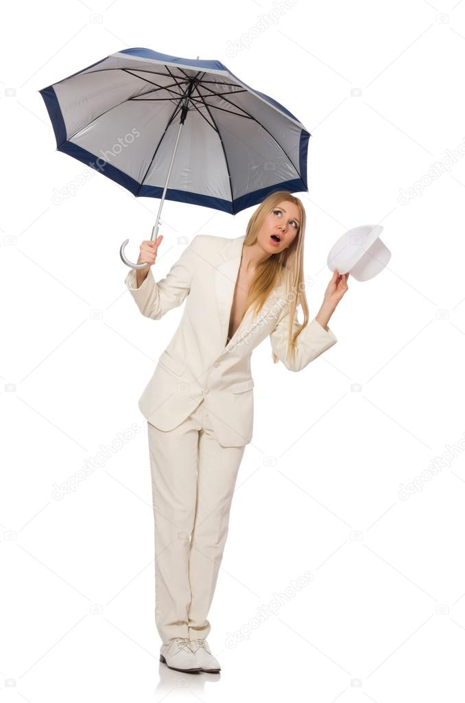 Woman With Umbrella Isolated On White Stock Photo C Elnur 88851666