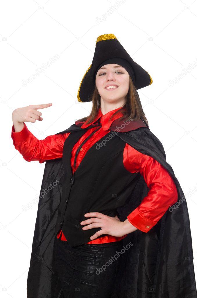 Negro Blanco En Mujer Pirata Abrigo Aislado Yqa1xPnSw