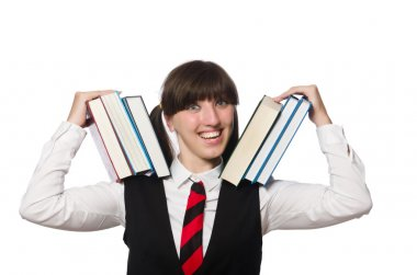 Funny nerd student isolated on white