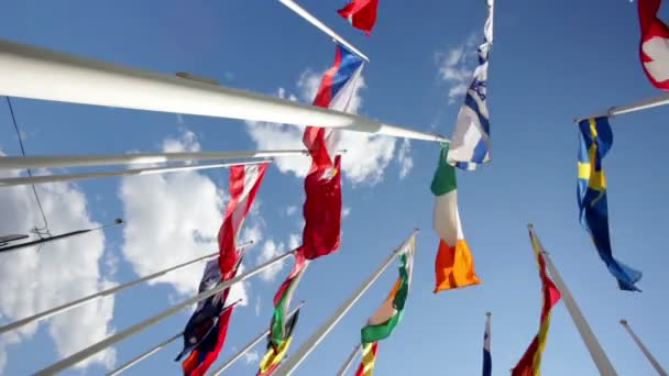 Flags of different countries flapping in sky