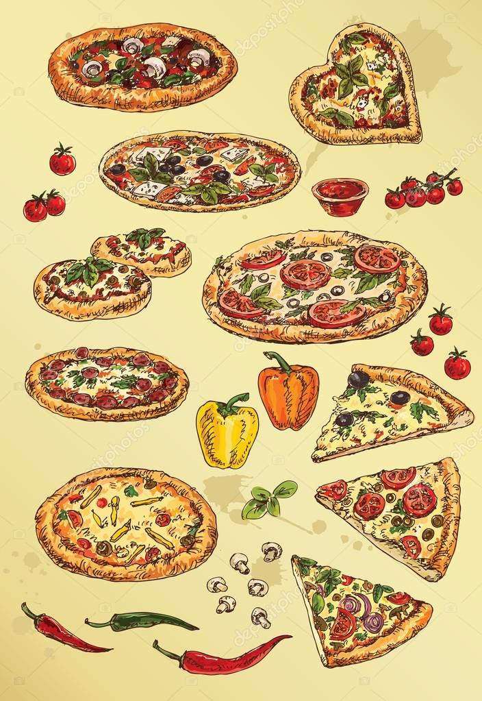 Gruppo Di Disegni Di Mano Di Pizza Vettoriali Stock Grafnata