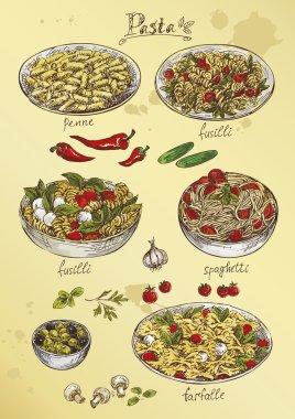 Hand drawing pasta