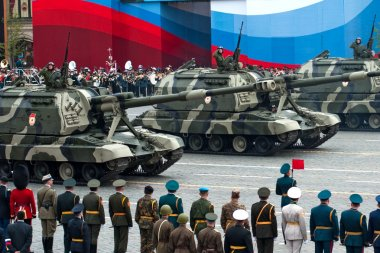 MOSCOW - 6 May 2010: Self-propelled Howitzer MSTA. Dress rehears