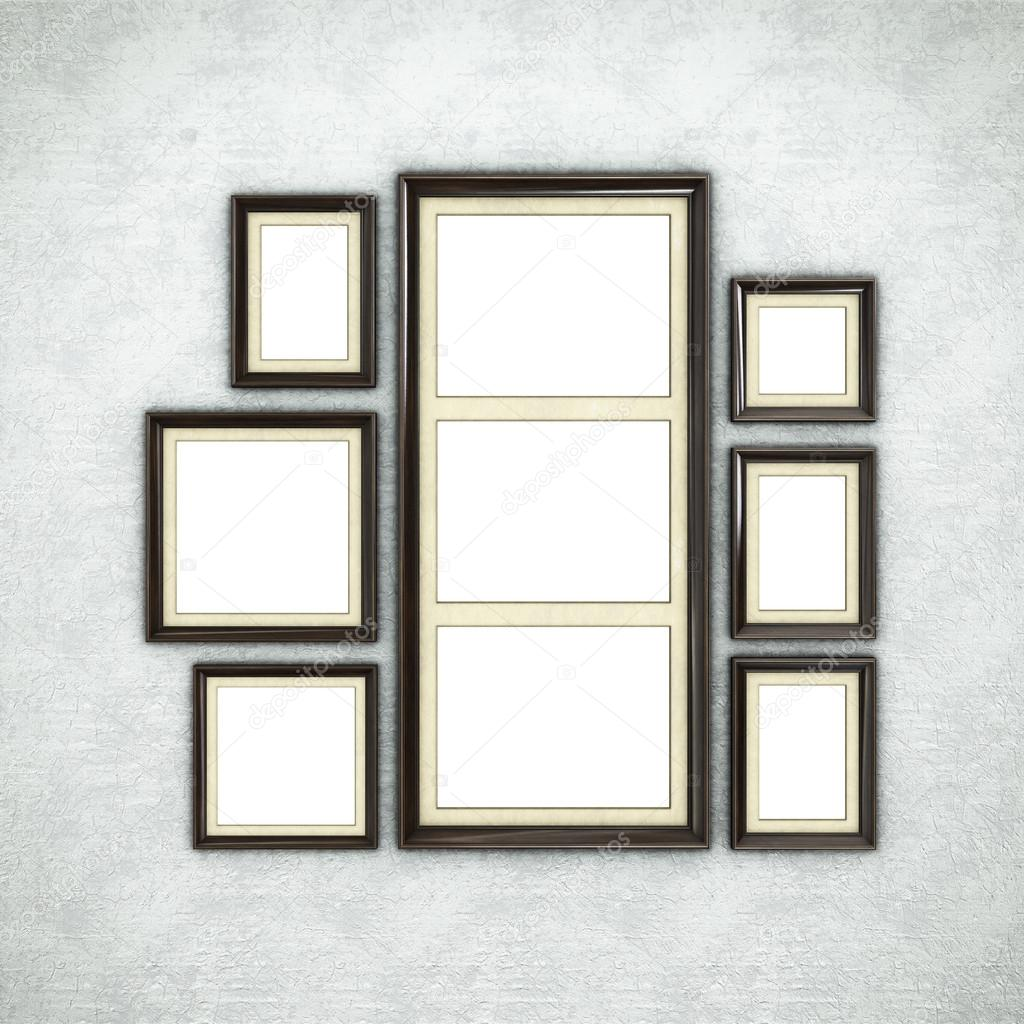 Wooden frames on wallpaper — Stock Photo © Irochka #119401468