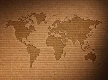 World map displayed on  old paper