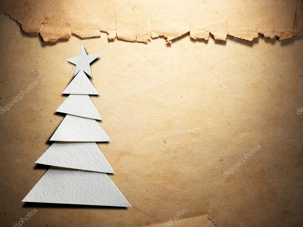 Christmas tree cut out from paper — Stock Photo © Irochka #90640142