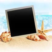 Fotografie mušle a fotorámeček na písku