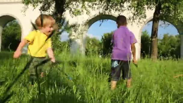 Dva malí kluci chodí na trávě