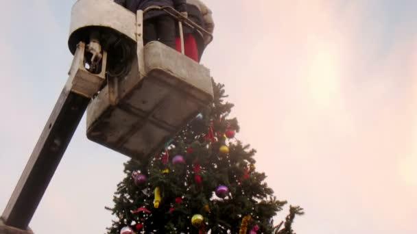 dělníci zdobí vánoční strom