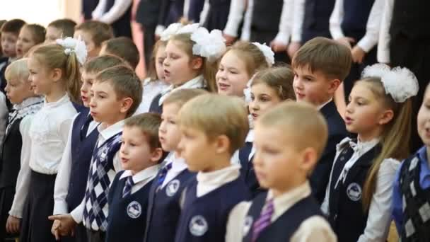 Pupils sing at holiday of Alphabet in School No. 1349.