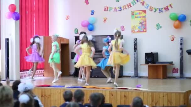 Girls dance at holiday of Alphabet in School No. 1349.