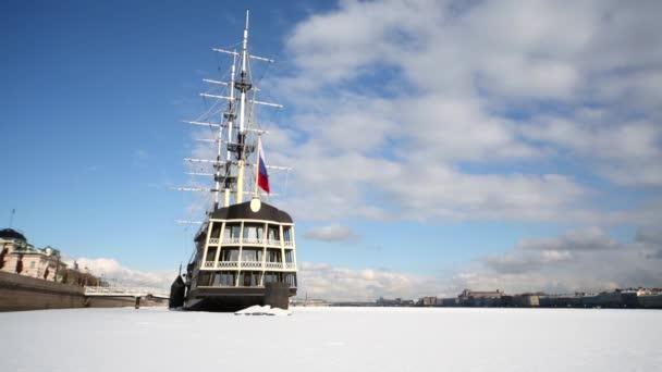 View at stern of sailing ship