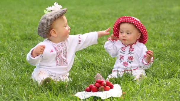 Two babies in folk clothes play near red strawberries on grass