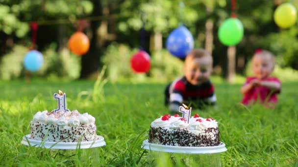 Two cakes with candles, balloons on clothesline and two babies