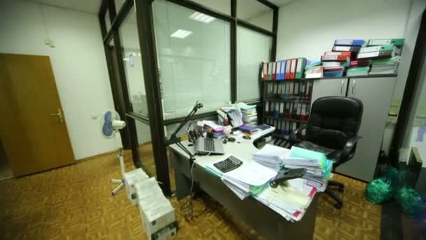 Working place - table, equipment, armchair in office