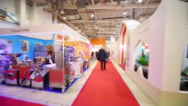 People visiting the stands of the International Exhibition