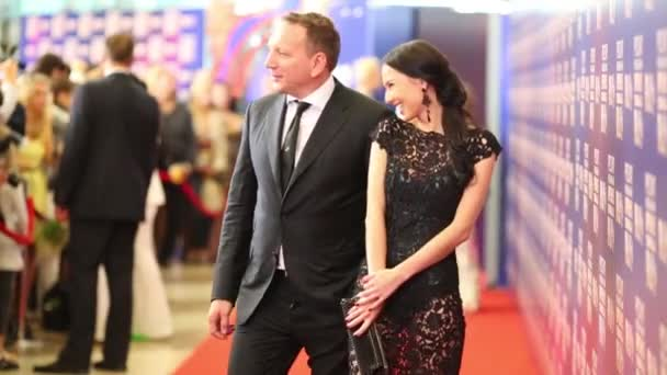 Pair poses on Red carpet on Russian Music Award channel RUTV
