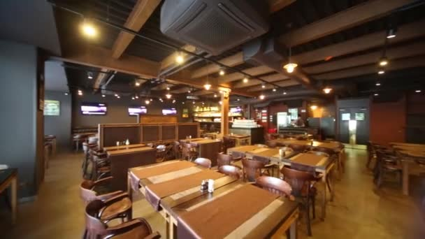 Room in restaurant with wooden furniture