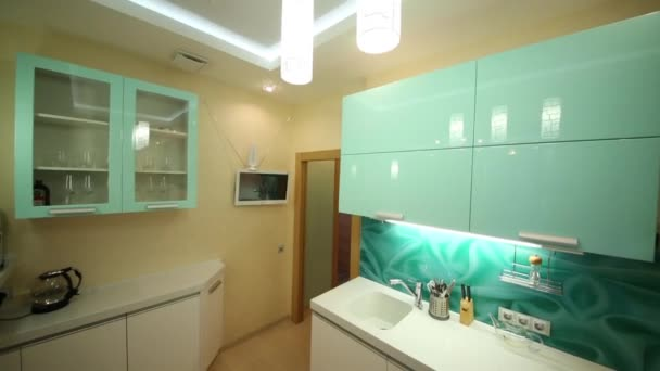 New stylish kitchen with modern lamps