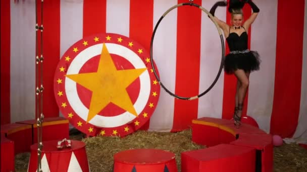 Circus female performer in top hat