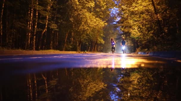Pair ride bicycles with lights