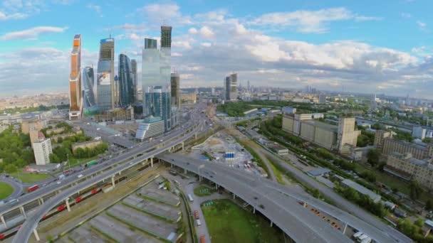 Cityscape with skyscrapers complex