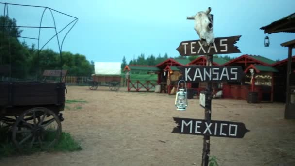 Signpost with pointers and animal skull