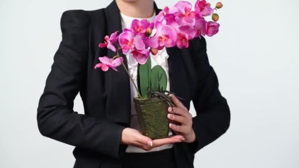 Öltöny kezében orchidea nő