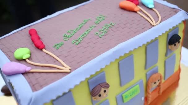 Susse Kuchen In Form Von Kindergarten Stockvideo C Paha L 124376656