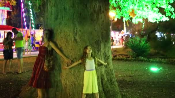 People near tree with illumination at night.
