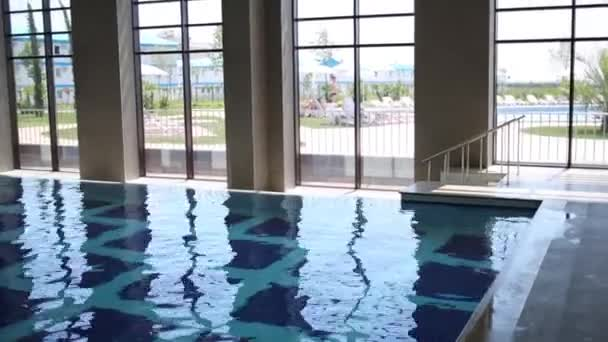 indoor pool in modern hotel