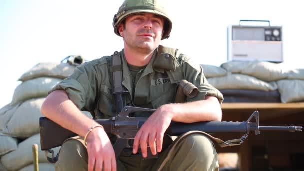 man in uniform of American soldier