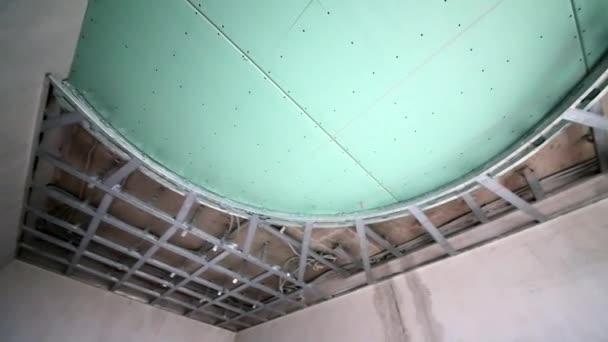 Abgehängte Decke Aus Gipskartonplatten U2014 Stockvideo