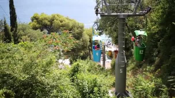 funicular open wagons move above trees