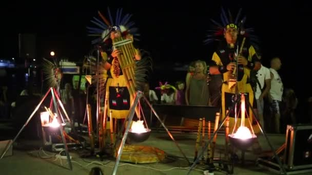 YALTA, CRIMEA, UKRAINE - AUG 23, 2013: Indians perform at night street. In March 16, 2014 93 per cent of population of Crimea expressed their willingness to join to Russia